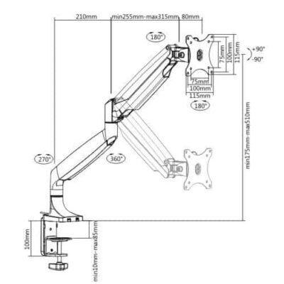 CAS-12U זרוע ארגונומית מתכווננת עם בוכנת גז למחשב תוצרת מידותCASIII