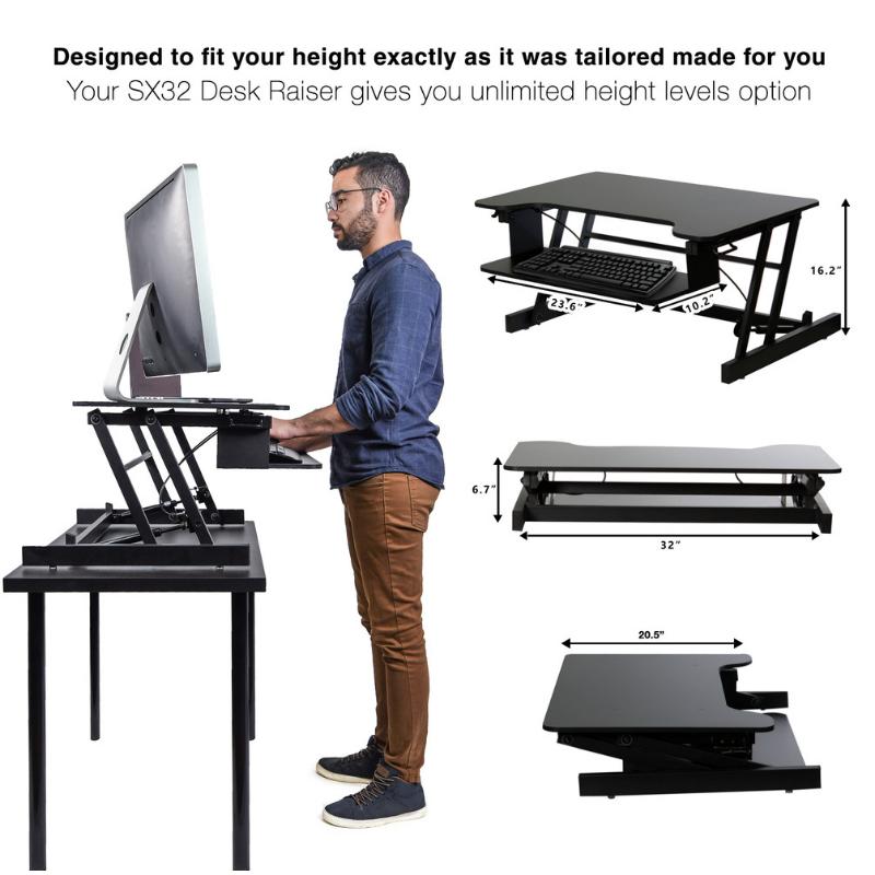 עמדת עמידה/ישיבה מתכווננת ארגונומית דגם SX32 – תוצרת CASIII