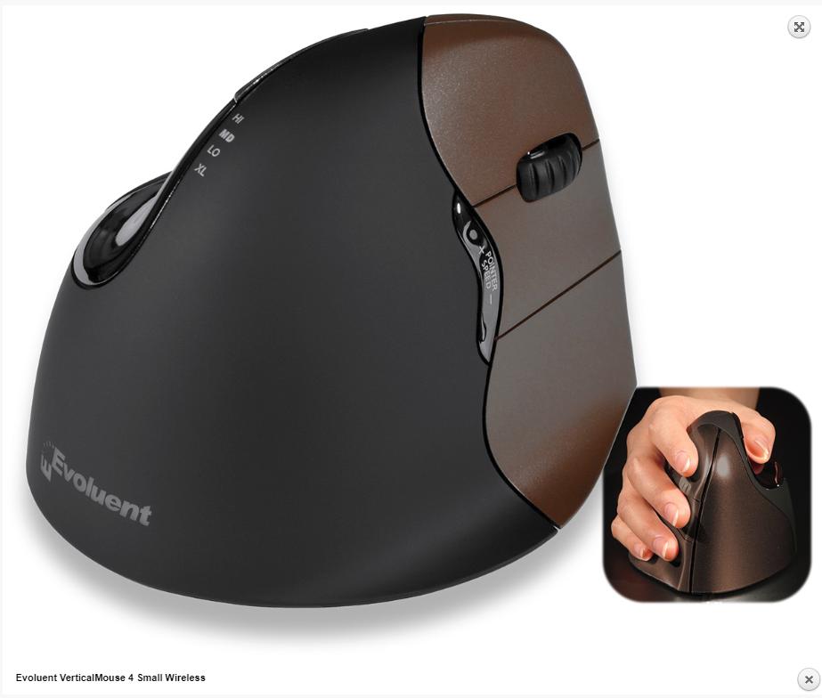 Evoluent VerticalMouse 4 Small Wireless עכבר ארגונומי אנכי אלחוטי ימין קטן