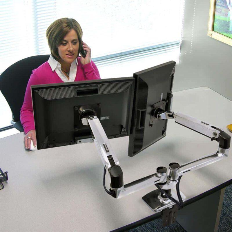 זרוע מאלומניום כפולה מתכוונת למסך מחשב LX Dual Side-by-Side Arm 45-245-026 4