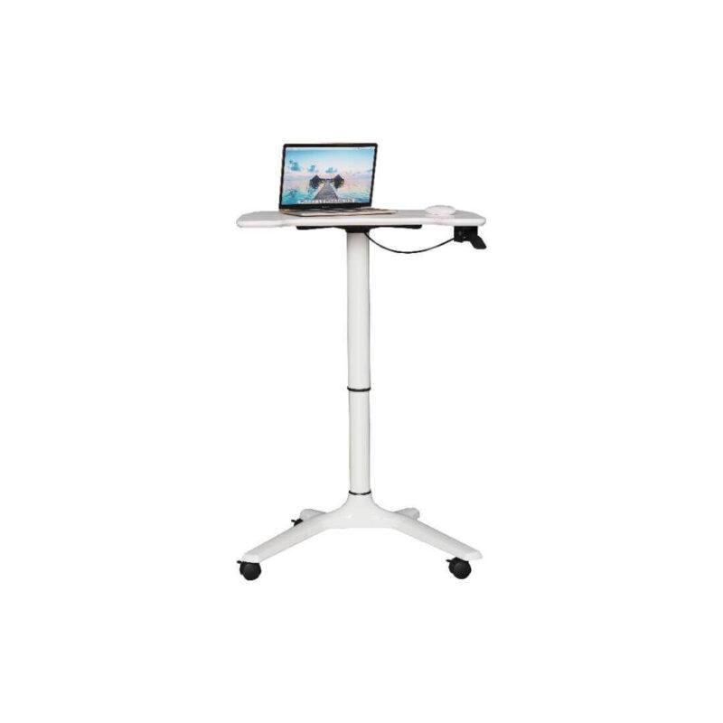 לבן עמדת מחשב נייד ניידת על גלגלים מתכווננת גובה MT01 טופ קומרס ציוד ארגונומי (2)