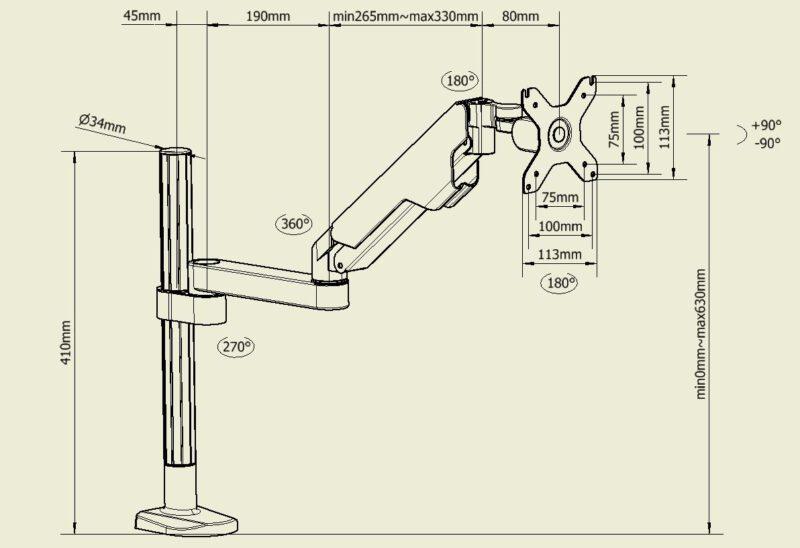זרוע למסך מחשב ארגונומית מתכווננת עם בוכנת גז - CAS-AGH301 תוצרת CASIII - DIM