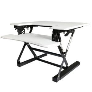 עמדת מחשב עמידה/ישיבה מתכווננת ארגונומית דגם  UP28 תוצרת CASIII לבן